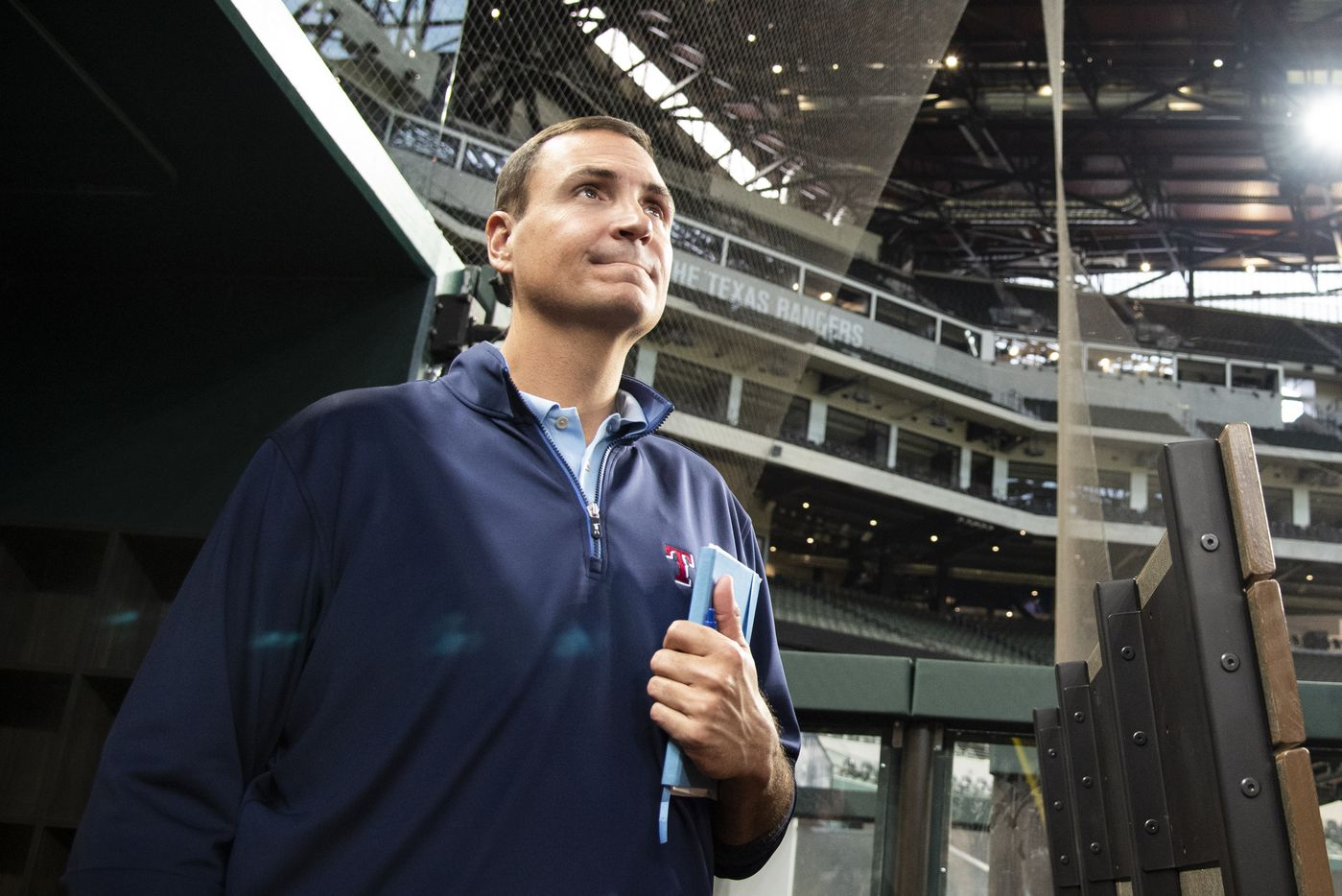Texas Rangers Executive Vice President and General Manager Chris Young looks on from the dugout during the Texas RangersÕ end of the year press conference at Globe Life Field on Wednesday, October 6, 2021 in Arlington, Texas. (Emil Lippe/Special Contributor)