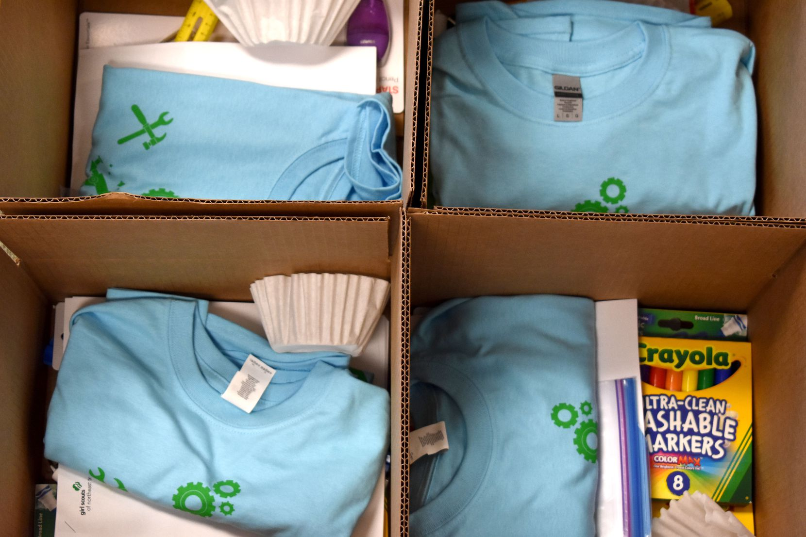 Boxes being packaged for the Girl Scouts of Northeast Texas' first week of Camp Out of the Box on June 18, 2020, in Dallas.