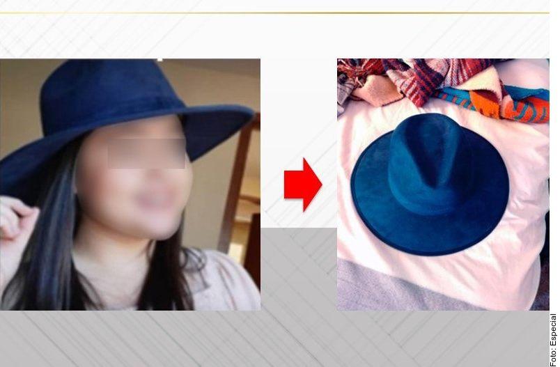 El sombrero azul fue hallado en uno de los domicilios cateados.