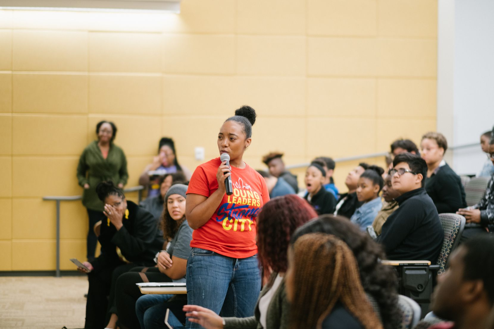 Amber Sims, co-founder of Young Leaders, Strong City, led a workshop with high school students in 2019.