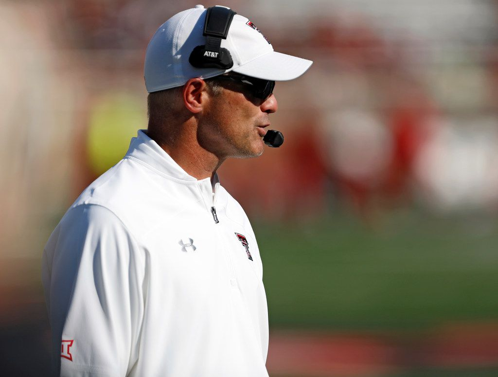 Texas Tech coach Matt Wells talks to his team during the second half of the team's NCAA college football game against Montana State, Saturday, Aug. 31, 2019, in Lubbock, Texas.
