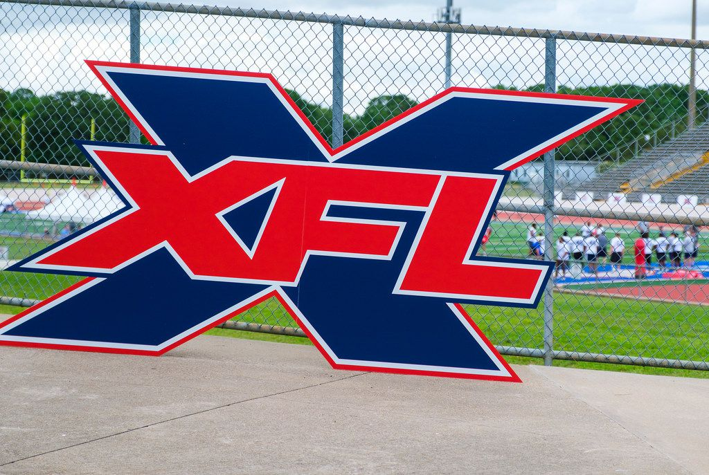 A logo is displayed at a stadium entrance during tryouts for the new Dallas XFL pro football team at UTA's Maverick Stadium on Friday, June 7, 2019, in Arlington. (Smiley N. Pool/The Dallas Morning News)
