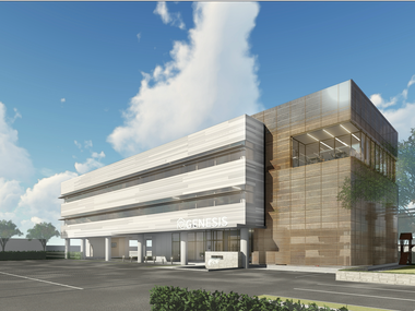 A rendering of the exterior of Genesis Women's Shelter and Support's planned $15 million facility in the Medical District. The 28,600 square foot space will include a children's trauma counseling center and other expanded services.