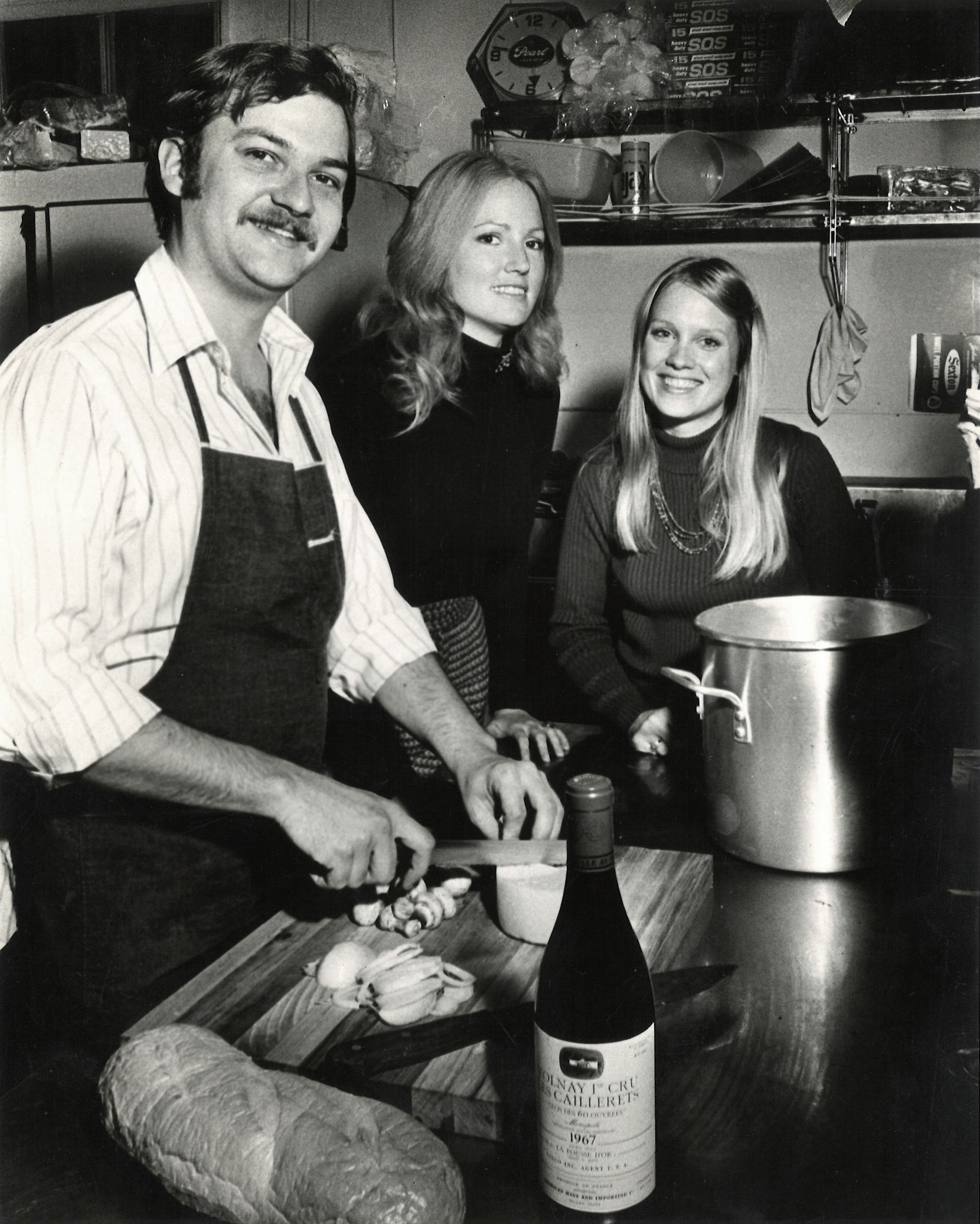 Chef Frank Bailey (brother of Kay Bailey Hutchison), and co-owners Charlotte Parker and Kathy McDaniel a few weeks after the Grape opened in 1972.