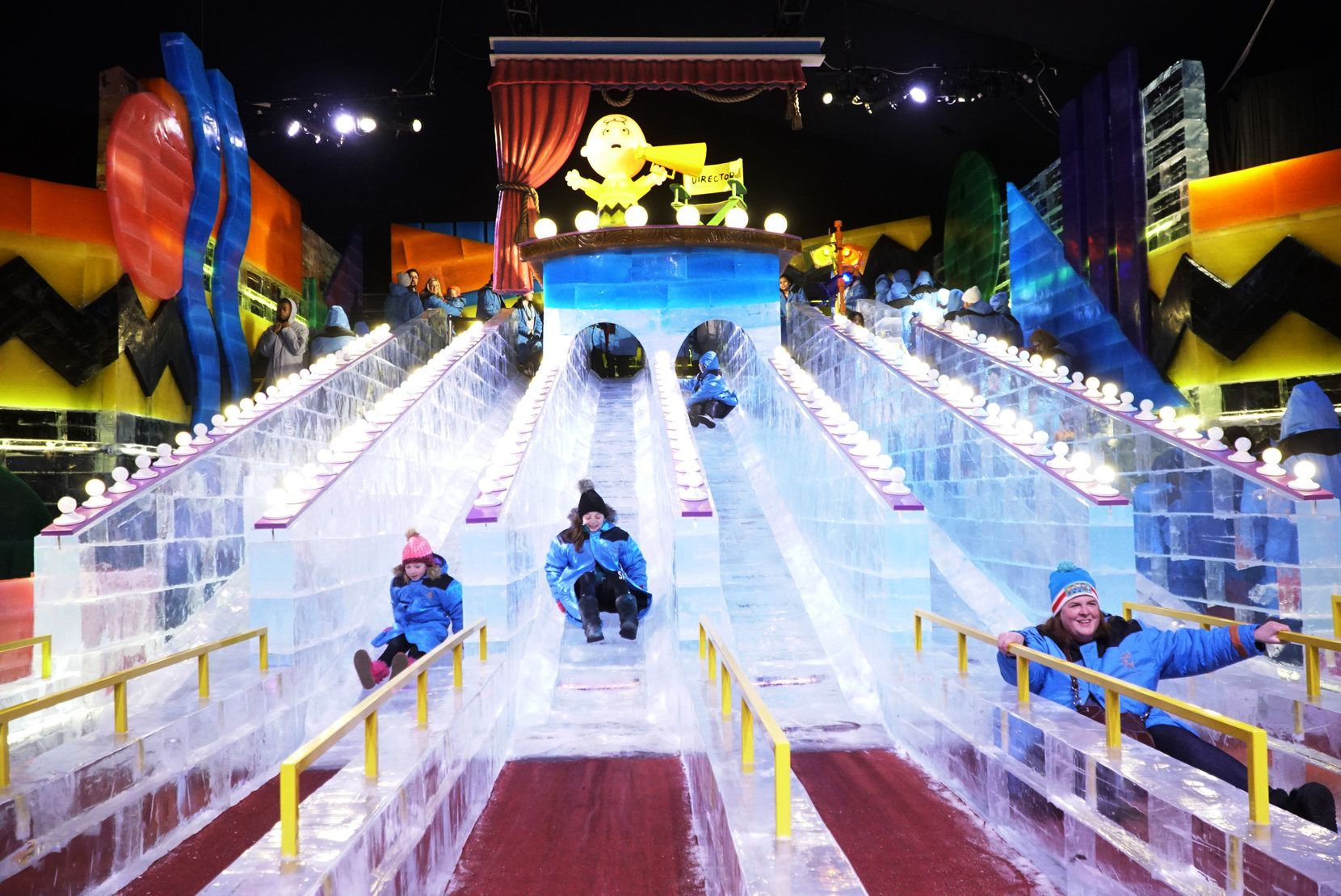 "For Gaylord Texan's ""Ice!"" exhibit, about 2 million pounds of ice has been hand-carved into sculptures of Charlie Brown and his friends, festive holiday scenes and five two-story ice slides."