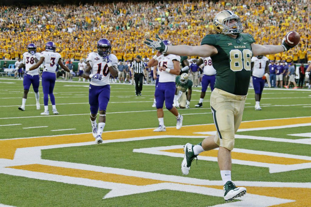 Baylor tight end Sam Tecklenburg (88) celebrates in the end zone after catching a first-quarter touchdown pass during the Northwestern State University Demons vs. the Baylor University Bears NCAA football game at McLane Stadium in Waco, Texas on Friday, September 2, 2016. (Louis DeLuca/The Dallas Morning News)