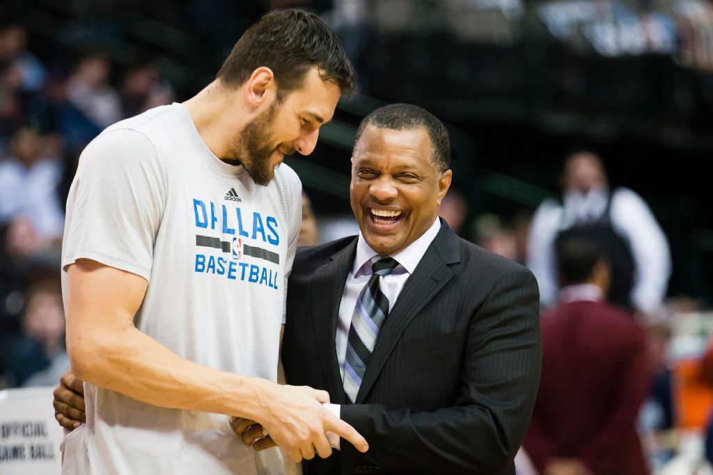 Dallas Mavericks center Andrew Bogut chats with New Orleans Pelicans head coach Alvin Gentry before an NBA basketball game at American Airlines Center on Sunday, Nov. 27, 2016, in Dallas.
