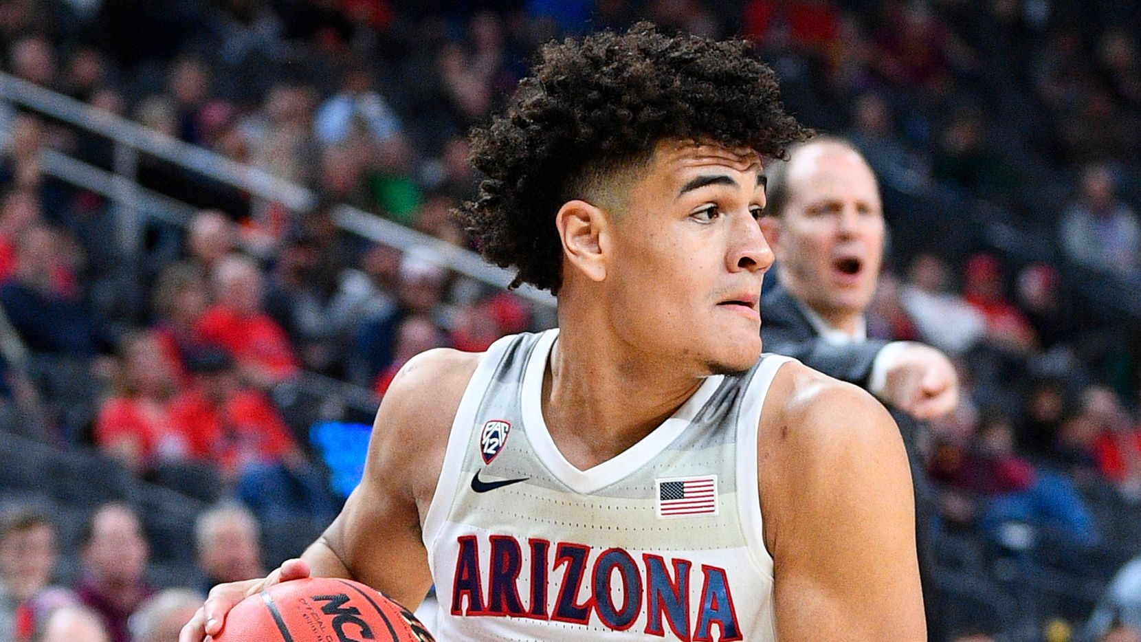 LAS VEGAS, NV - MARCH 11: Arizona Wildcats guard Josh Green (0) looks to make a pass during the first round game of the men's Pac-12 Tournament between the Arizona Wildcats and the Washington Huskies on March 11, 2020, at the T-Mobile Arena in Las Vegas, NV.