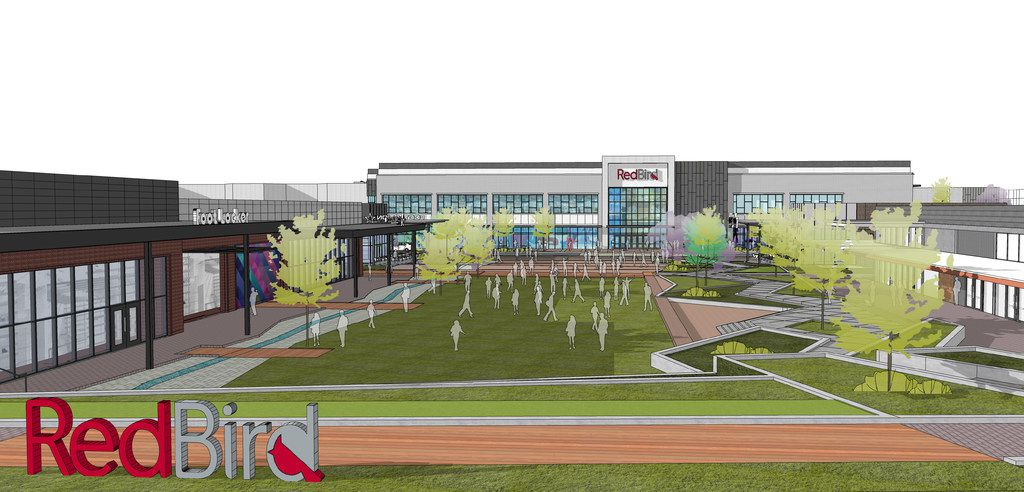 An artist's rendering of a park and a Foot Locker Power Store on the north side of the redevelopment of Southwest Center Mall, which will be renamed RedBird. The property is bordered by Camp Wisdom and Westmoreland roads, Interstate 20 and Highway 67 in Dallas. Road work to improve access will be completed by TxDOT.