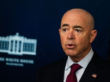 Homeland Security Secretary Alejandro Mayorkas speaks during a White House news briefing on March 1, 2021.