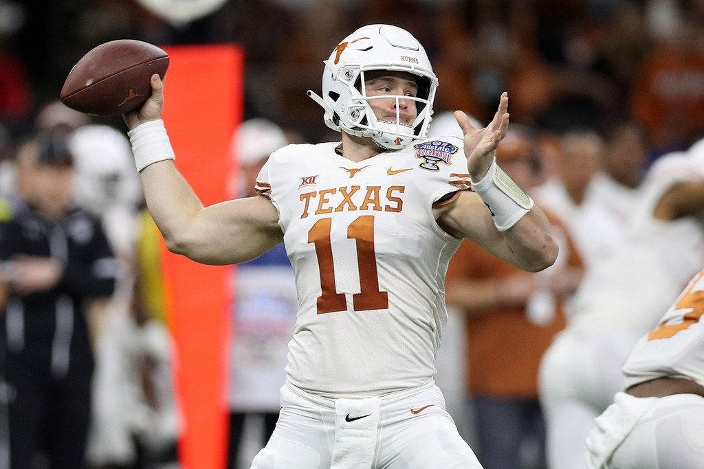 NEW ORLEANS, LOUISIANA - JANUARY 01:  Sam Ehlinger #11 of the Texas Longhorns throws a pass against the Georgia Bulldogs at Mercedes-Benz Superdome on January 01, 2019 in New Orleans, Louisiana. (Photo by Chris Graythen/Getty Images)