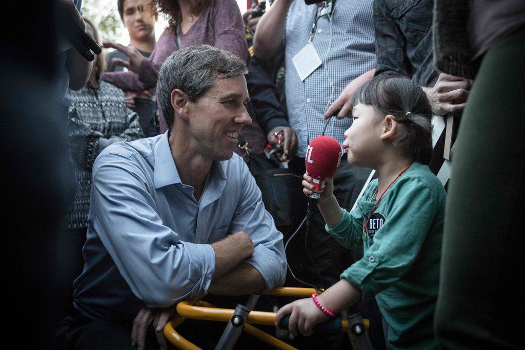 U.S. Rep. Beto O'Rourke  was interviewed by a young supporter following a Senate race campaign rally in the Dallas area  on Saturday.   O'Rourke is fighting to unseat Sen. Ted Cruz.