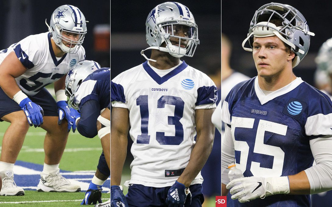 From L to R: Dallas Cowboys offensive guard Connor Williams, wide receiver Michael Gallup, and linebacker Leighton Vander Esch. (Staff photos/The Dallas Morning News)