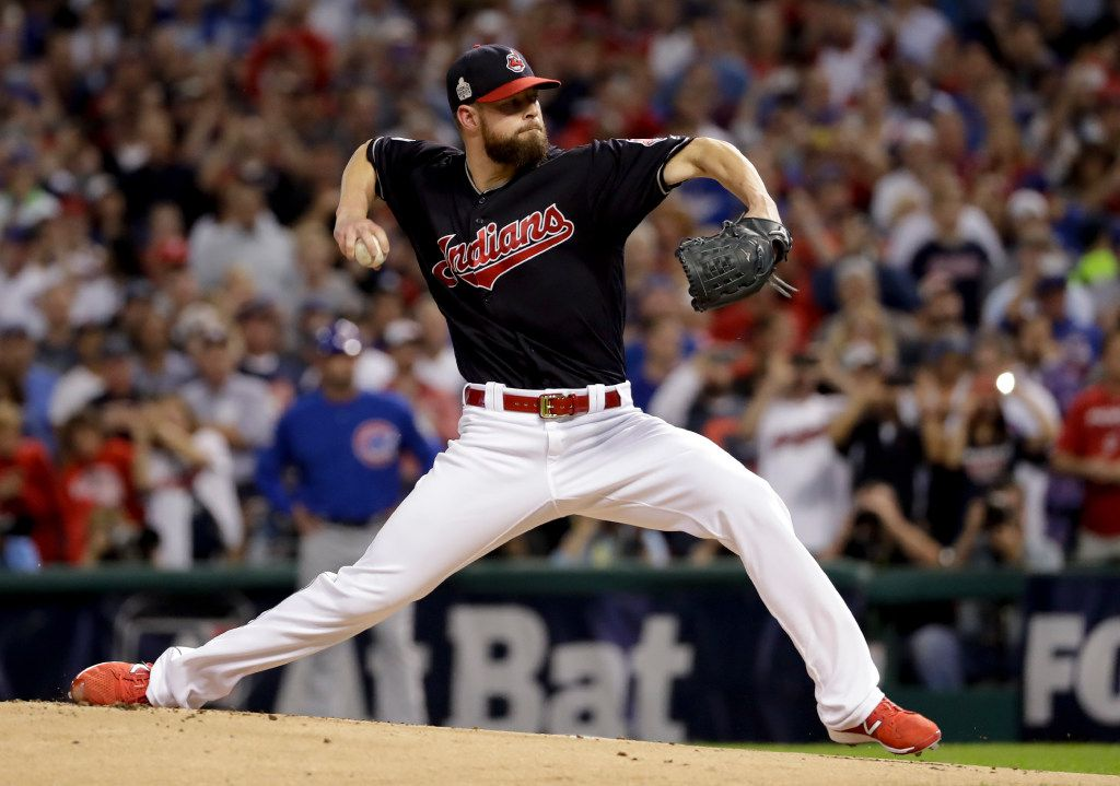 FILE - This Nov. 2, 2016 file photo shows Cleveland starting pitcher Corey Kluber throwing against the Chicago Cubs during the first inning of Game 7 of the World Series in Cleveland. (AP Photo/Matt Slocum, file)