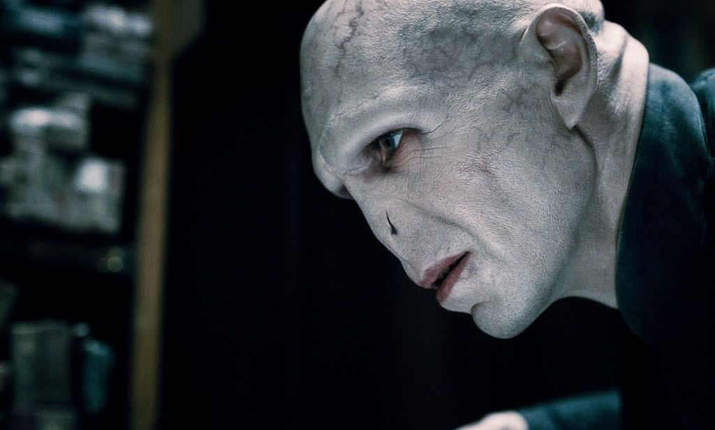 Ralph Fiennes as Voldemort in the Harry Potter film series.