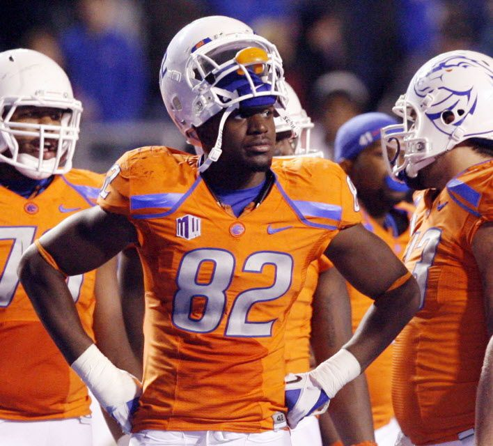 In this Nov. 2012, photo, then-Boise State NCAA college football player Samuel Ukwuachu (82) watches from the sidelines during an official review of a San Diego State touchdown at Bronco Stadium in Boise, Id.