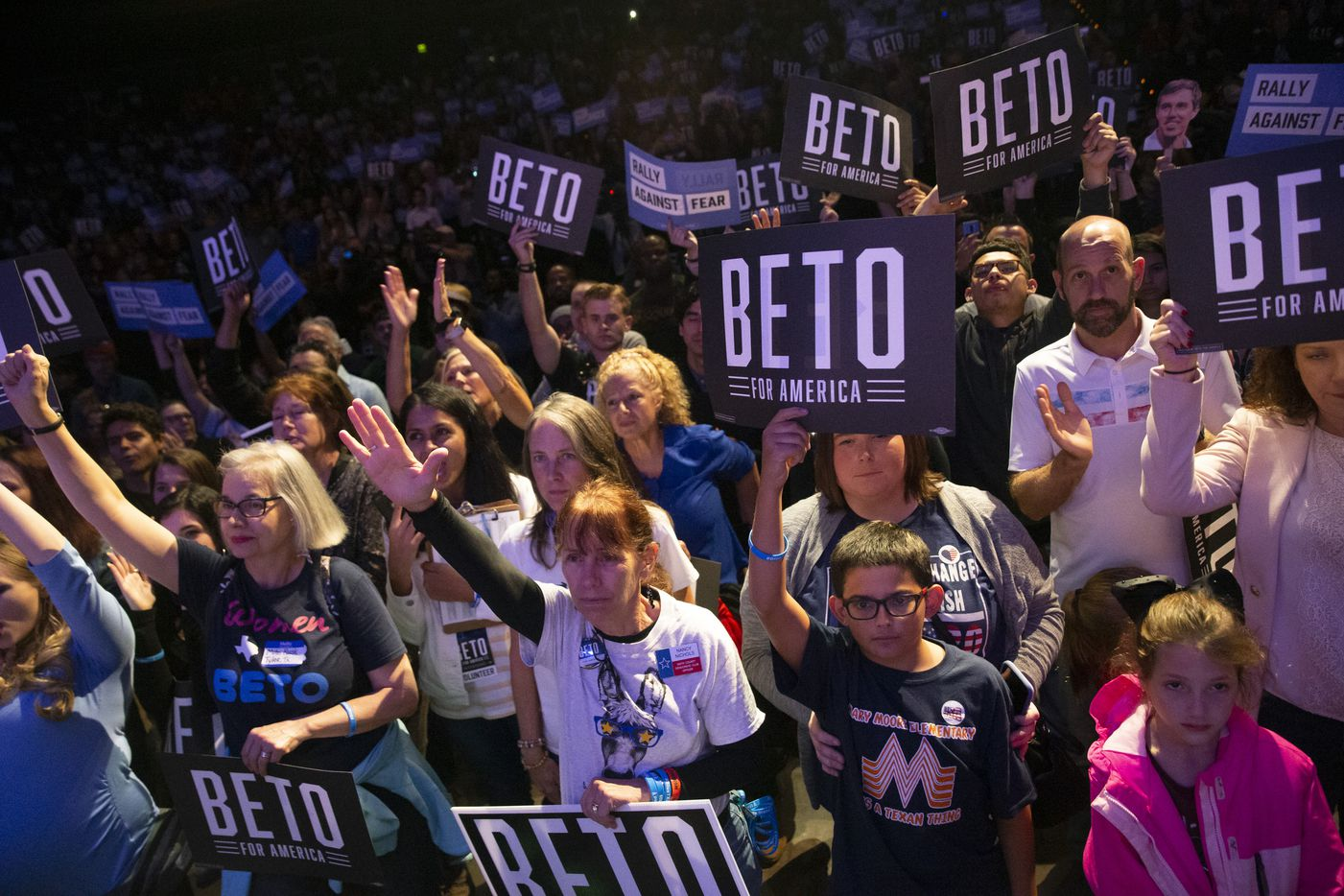 Supporters cheer as they prepare for Democratic presidential candidate and former Texas Rep. Beto O'Rourke to take the stage at the Rally Against Fear event hosted by O'Rourke's campaign in the Theatre at Grand Prairie on Thursday, Oct. 17, 2019, in Grand Prairie, Texas. O'Rourke hosted the event in response to President Donald Trump's rally in downtown Dallas at the same time.