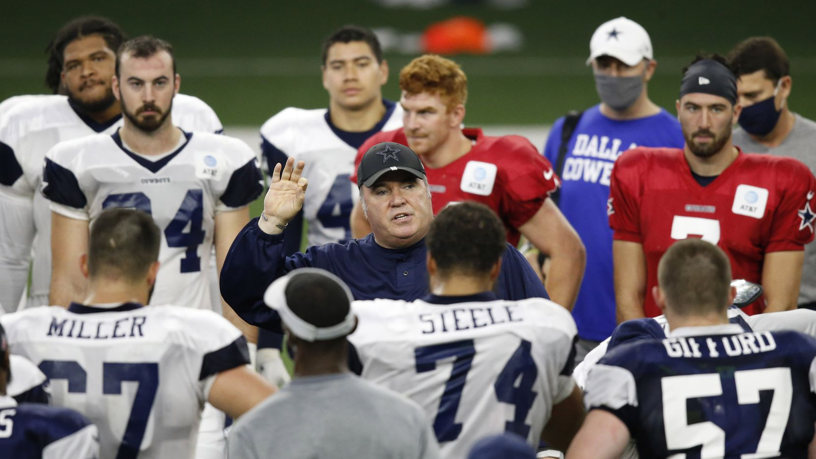 Cowboys head coach Mike McCarthy talks to the team after practice during training camp at The Star in Frisco on Monday, Aug. 17, 2020.