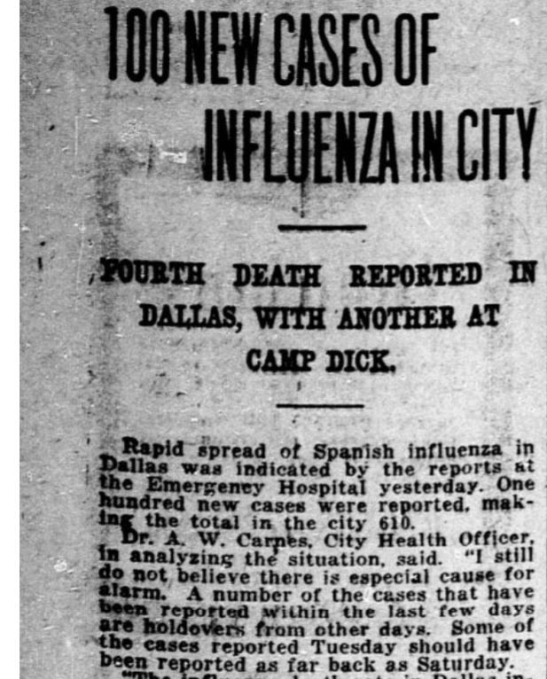 The News reported on Sept. 27, 1918, the rapid spread of the Spanish influenza, or Spanish flu. Despite the worsening conditions, Dallas city medical officials hesitated to impose restrictions on public gatherings until more than two weeks later.
