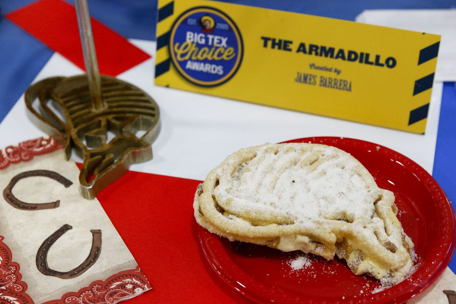 Concessionaire James Barrera has served fried ice cream at his State Fair booth since 2005. He's back with another fried ice cream dish in 2021. The Armadillo is bigger than it looks: It's the size of two outstretched hands and is made with two fried sugar cookie fritters on the outside, cookie butter ice cream in the middle.
