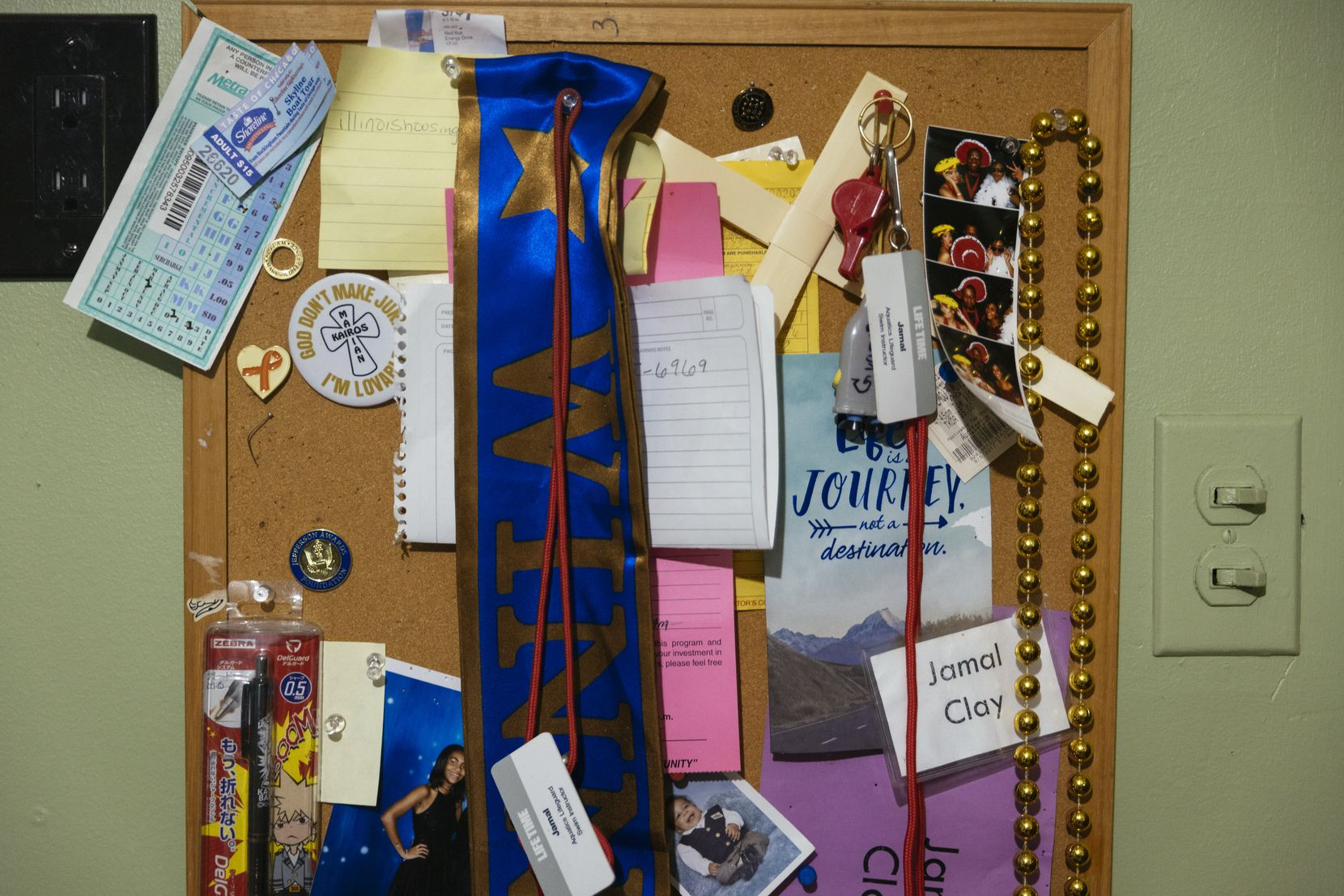 Mementos are displayed on a bulletin board in Jamal Clay s room on July 9, 2021, in Olympia Fields, Illinois. Clay died by suicide in May 2020. Research shows that while suicide rates have dropped for white Americans in recent years, it is a growing crisis for communities of color.