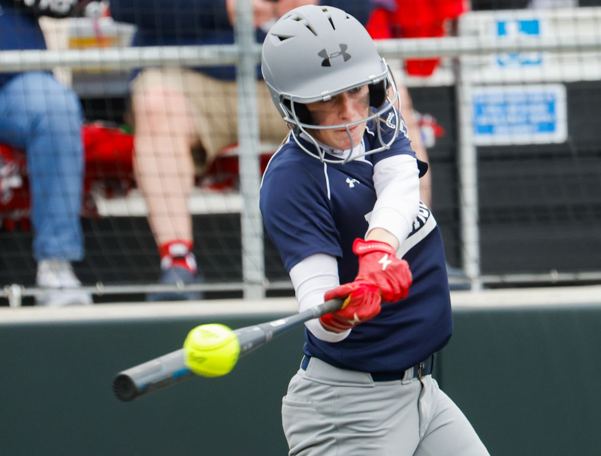 McKinney Boyd's Jori Whinery (10) hits the ball against Flower Mound during the sixth inning of a softball Class 6A bi-district playoff game on Friday, April 30, 2021, in Denton. (Juan Figueroa/The Dallas Morning News)