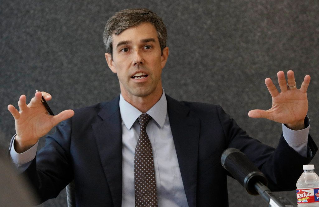 U.S. Rep. Beto O'Rourke, a Democrat running against Sen. Ted Cruz to represent Texas in the U.S. Senate, talks with The Dallas Morning News Editorial Board on Oct. 12, 2018 in Dallas.