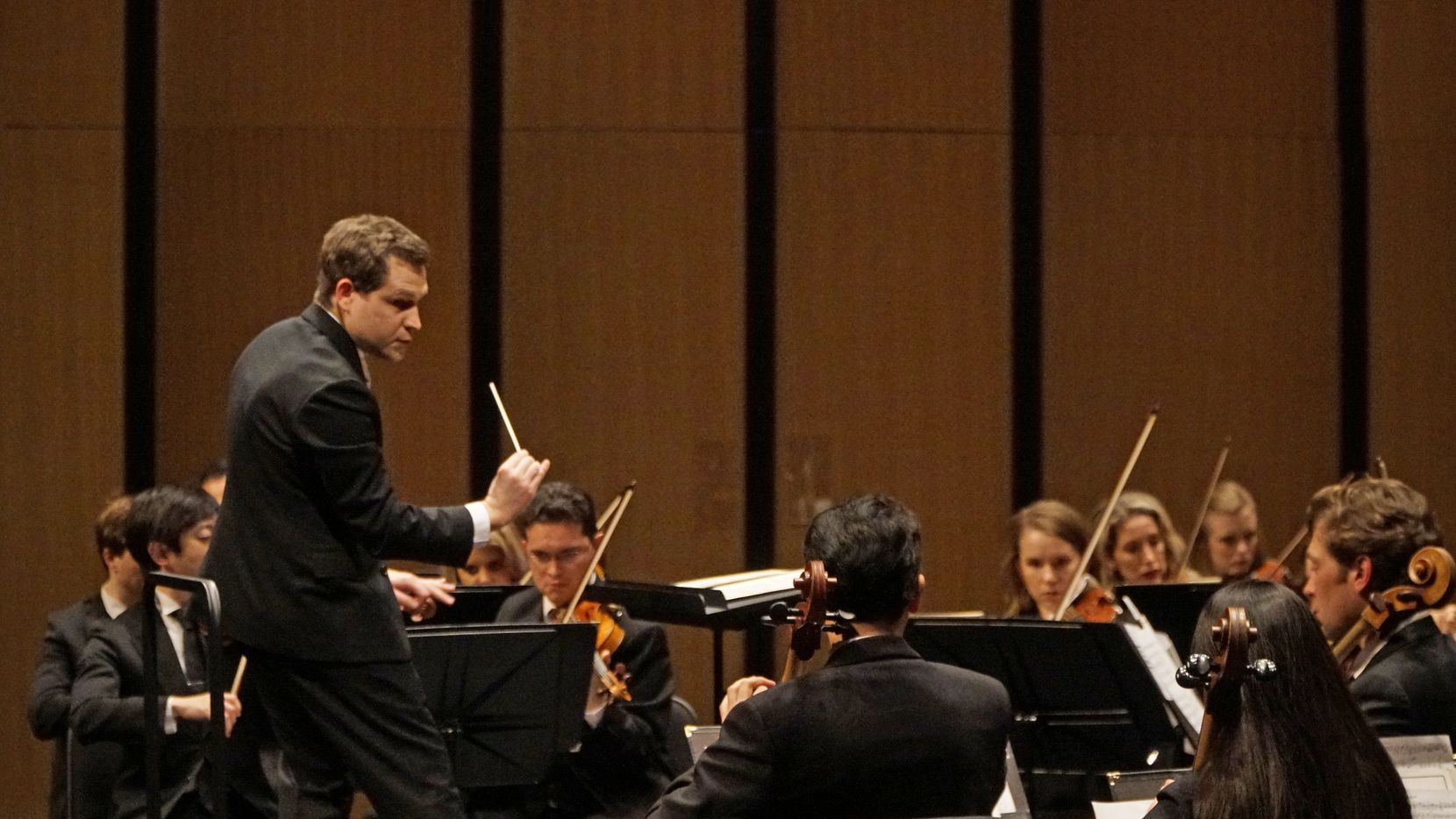 Artistic director Richard McKay conducts the Dallas Chamber Symphony at Moody Performance Hall in Dallas on Feb. 11, 2020.