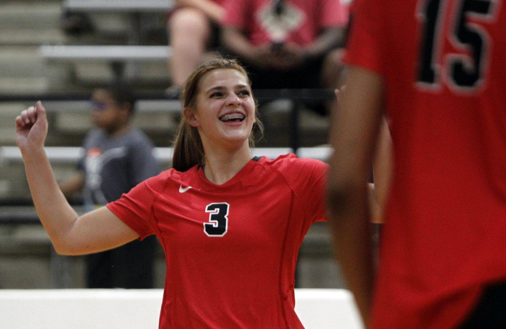 Arlington Martin's Zella Baresh (3) reacts after scoring during the 3rd set of their straight set victory over South Grand Prairie. The two teams played their volleyball match at Arlington Martin High School in Arlington on September 14, 2021. (Steve Hamm/ Special Contributor)