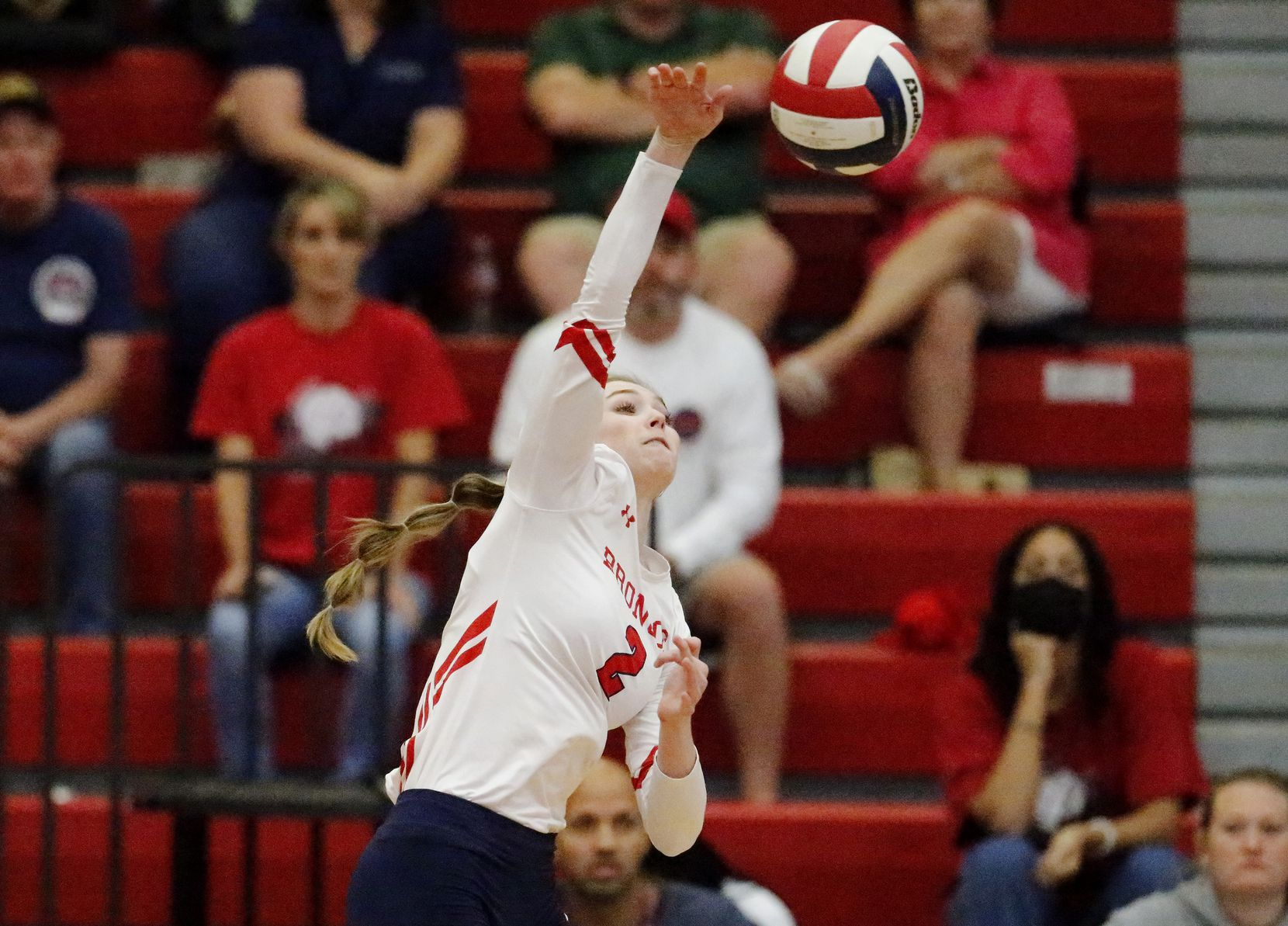 McKinney Boyd High School outside hitter Hannah Billeter (2) gets a hit during game one as McKinney Boyd High School hosted Flower Mound High School at McKinney Boyd High School on Tuesday evening, September 7, 2021. (Stewart F. House/Special Contributor)