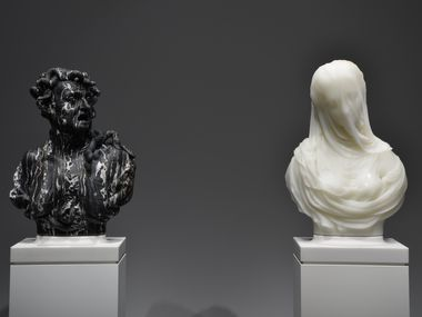 "Barry X Ball's ""Envy"" and ""Purity"" busts reveal a stark contrast."