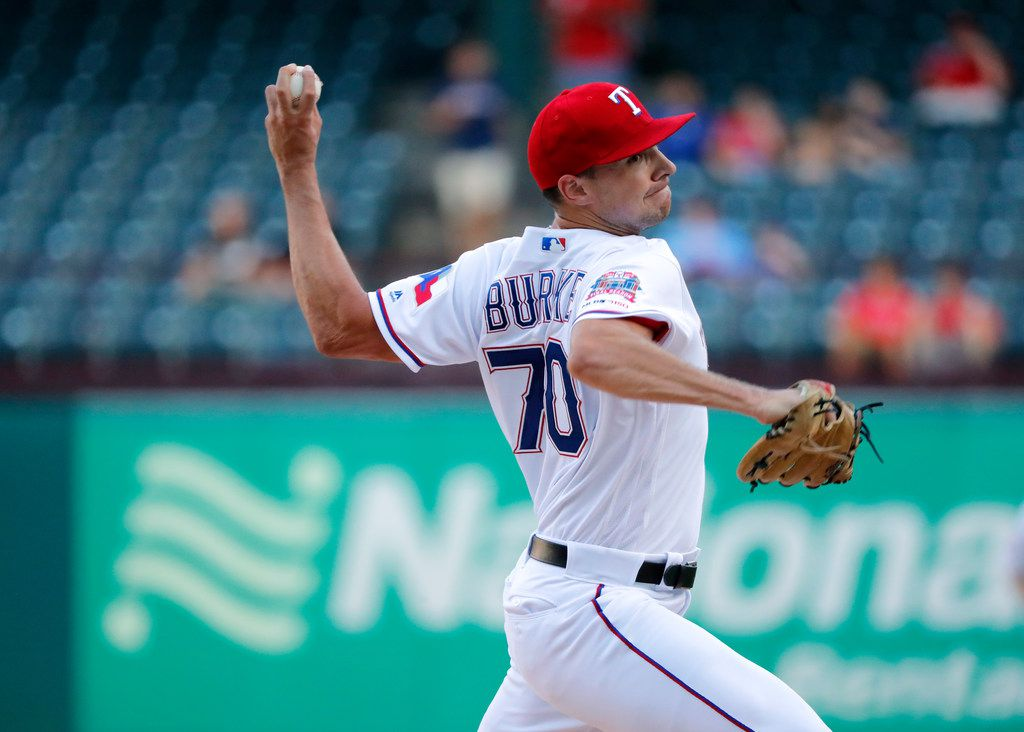 Texas Rangers starting pitcher Brock Burke throws to the Los Angeles Angels in the first inning of a baseball game in Arlington, Texas, Tuesday, Aug. 20, 2019. Burke made his major league debut in the game. (AP Photo/Tony Gutierrez)