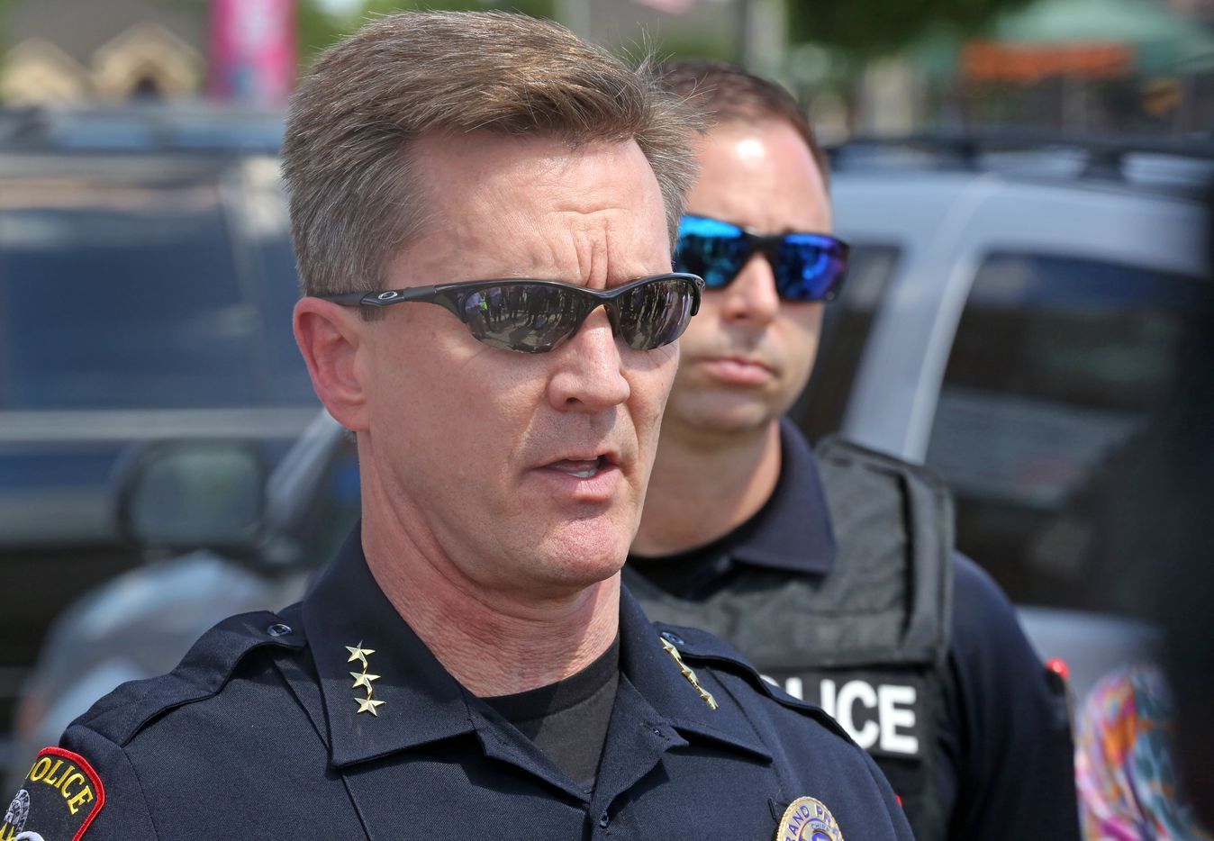 Grand Prairie police Chief Steve Dye explains the sequence of events as police confronted a man with a gun near the Ikea store.