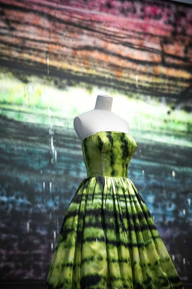A design by Raf Simons from the Dior Heritage Collection, Paris, and photographed in front of a Sterling Ruby 2010 oil on canvas.