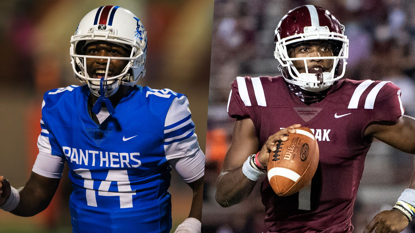 Chris Parson with Duncanville in 2019 (left) and with Red Oak in 2020.