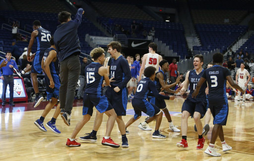 As the buzzer bedlam breaks out as Allen begins to celebrate from Friday's Class6A boys basketball UIL state semifinal Allen and Austin Westlake on Friday, March 9, 2018 at the Alamodome.  (Ronald Cortes/Special Contributor)  ORG XMIT: 00025150A
