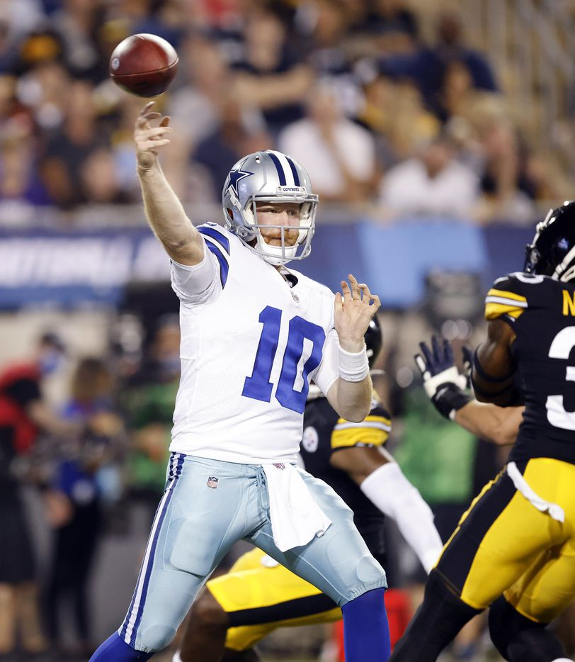 Dallas Cowboys quarterback Cooper Rush (10) throws a second quarter pass against the Pittsburgh Steelers preseason game at Tom Benson Hall of Fame Stadium in Canton, Ohio, Thursday, August 5, 2021. (Tom Fox/The Dallas Morning News)