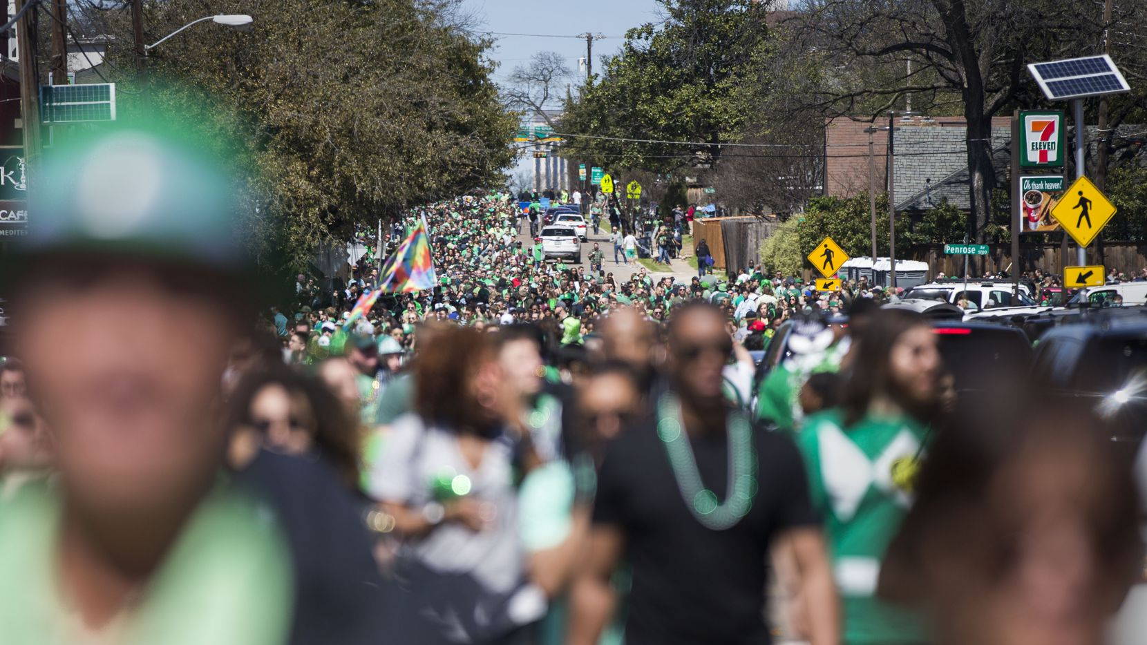 The Dallas St. Patrick's Day Parade & Festival is a spirited day in Dallas. After the parade, many revelers walk down Greenville Avenue to the block party on the south side of Mockingbird Lane. The parade has been canceled for March 13, 2021, for a second year in a row, because of the fear of spreading COVID-19.