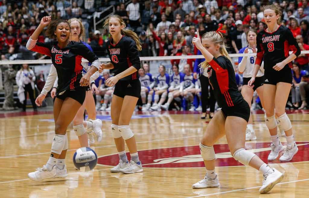 The Lovejoy Leopards call a ball out of bounds during the fourth and final set of a class 5A volleyball state semifinal match at the Curtis Culwell Center in Garland, on Friday, November 22, 2019. Lovejoy advanced to finals after winning the fourth set 25-22. (Juan Figueroa/The Dallas Morning News)