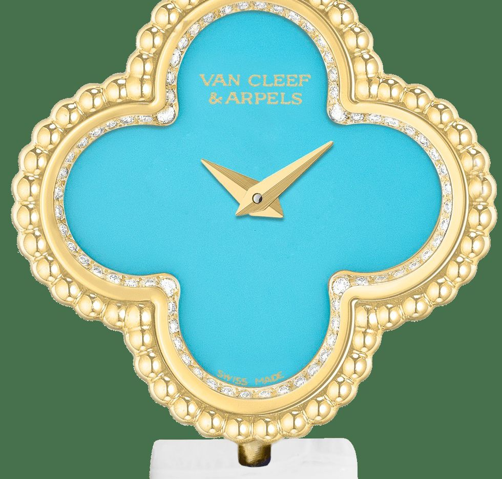 Sweet Alhambra timepiece featuring turquoise and diamonds set in 18K yellow gold by Van Cleef & Arpels. Priced at $18,600, the watch is in a yellow gold case with diamonds, turquoise dial and an interchangeable glossy white alligator strap.
