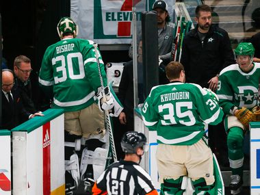 Dallas Stars goaltender Ben Bishop (30) subs out with goaltender Anton Khudobin (35) during the second period of an NHL matchup between the Dallas Stars and the St. Louis Blues on Friday, Feb. 21, 2020 at American Airlines Center in Dallas.