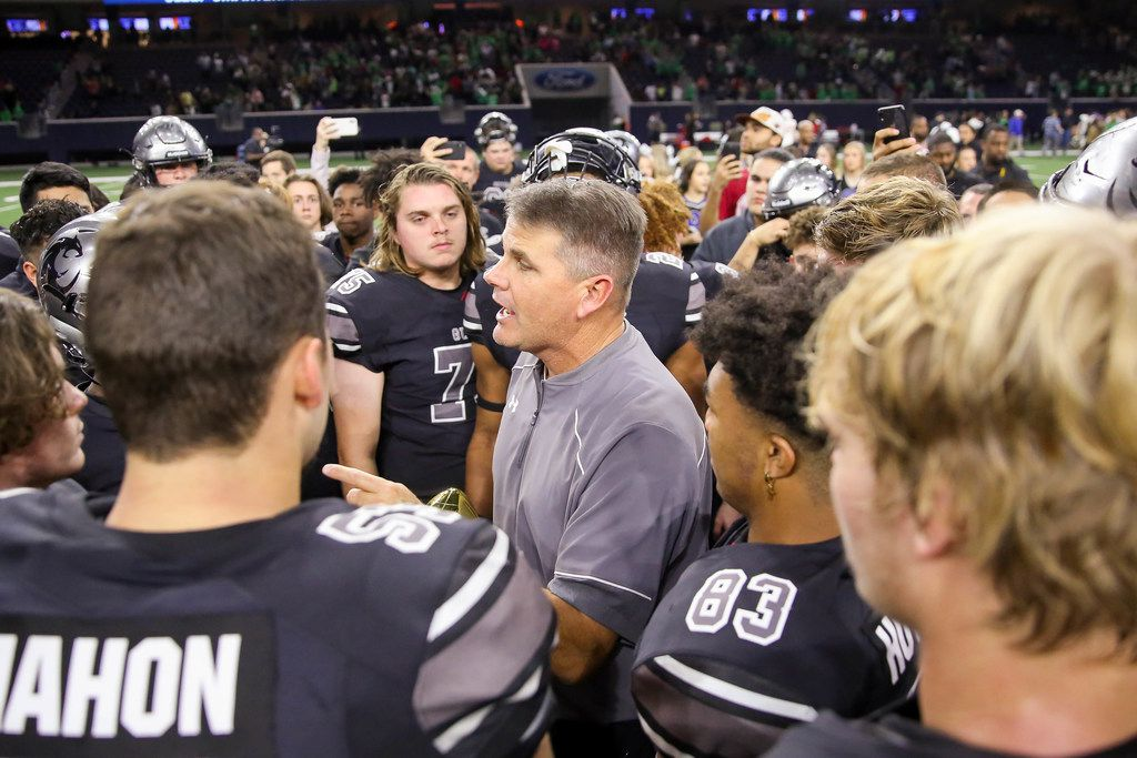 The Denton Guyer WildcatsÕ coach John Walsh gives his team a talk after winning a Class 6A Division II Region I semifinal game against Arlington at the Star in Frisco, on Saturday, November 30, 2019. Guyer won 42-21 to advance to the regional final. (Juan Figueroa/The Dallas Morning News)