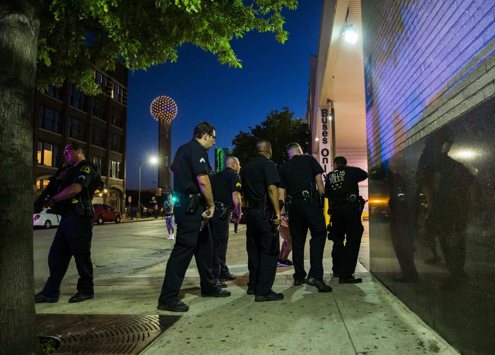 Dallas police cleared the area around the Greyhound bus station downtown on Thursday night.