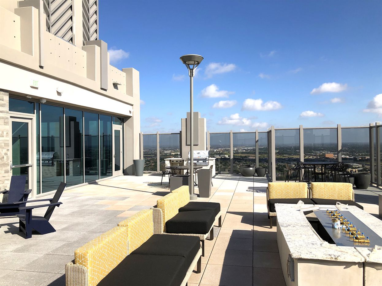 The rooftop terrace at the SkyHouse Frisco Station.