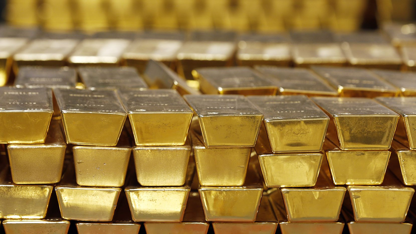Gold bars are stacked in a vault at the U.S. West Point on July 22, 2014, in West Point, N.Y.