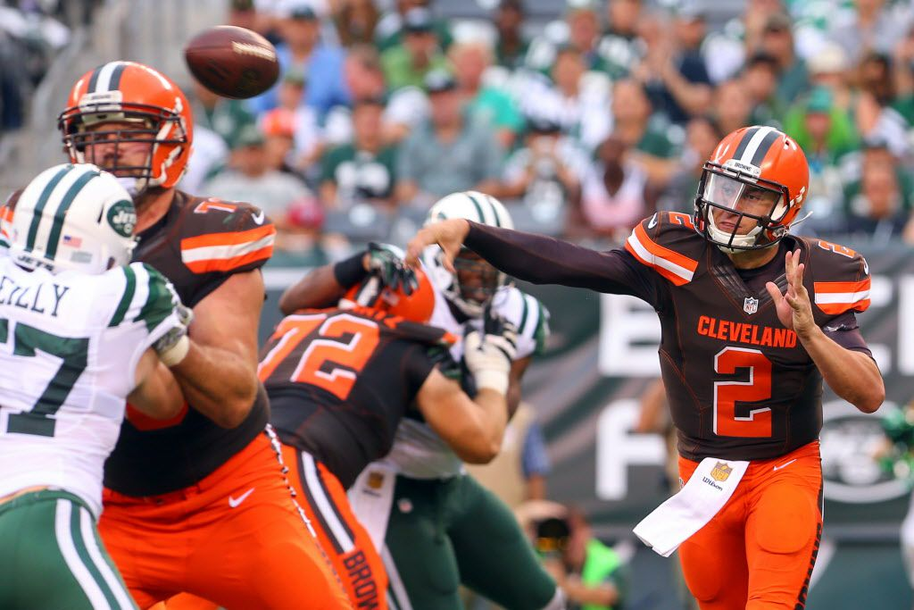 Sep 13, 2015; East Rutherford, NJ, USA; Cleveland Browns quarterback Johnny Manziel (2) throws a pass during the second half at MetLife Stadium. The Jets defeated the Browns 31-10.  Mandatory Credit: Ed Mulholland-USA TODAY Sports