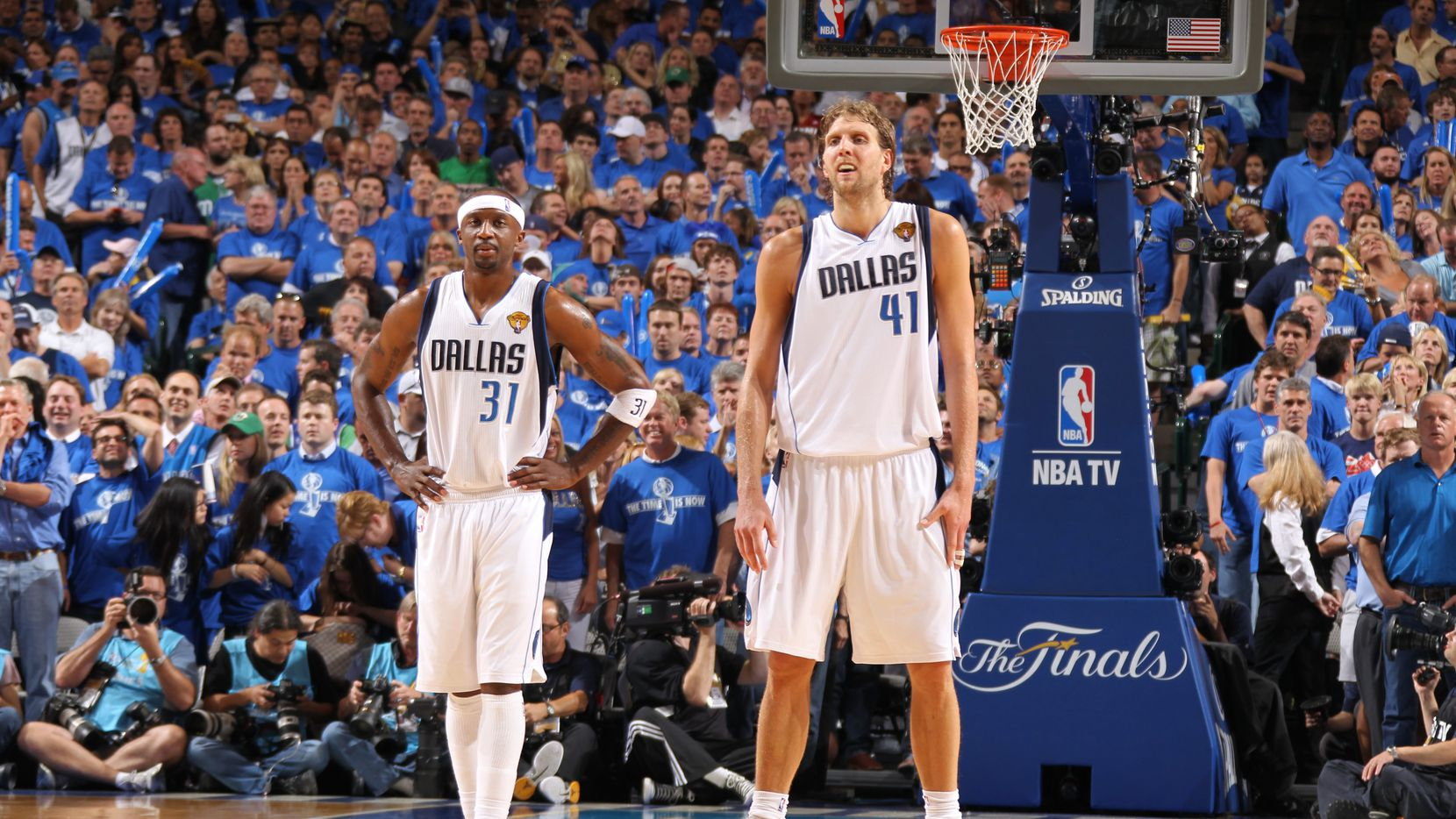 Jason Terry #31 and Dirk Nowitzki #41 of the Dallas Mavericks during against the Miami Heat during Game Five of the 2011 NBA Finals on June 09, 2011 at the American Airlines Center in Dallas, Texas.