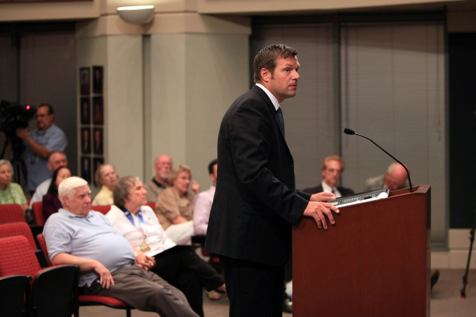 Kris Kobach spoke at a Farmers Branch City Council meeting in August 2013.
