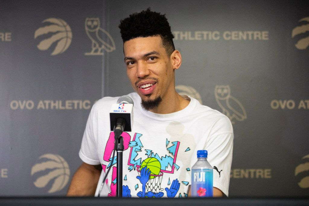 Toronto Raptors' Danny Green takes questions from the media during an NBA basketball news conference following their NBA Championship win, in Toronto, Sunday, June 16, 2019. (Chris Young/The Canadian Press via AP)