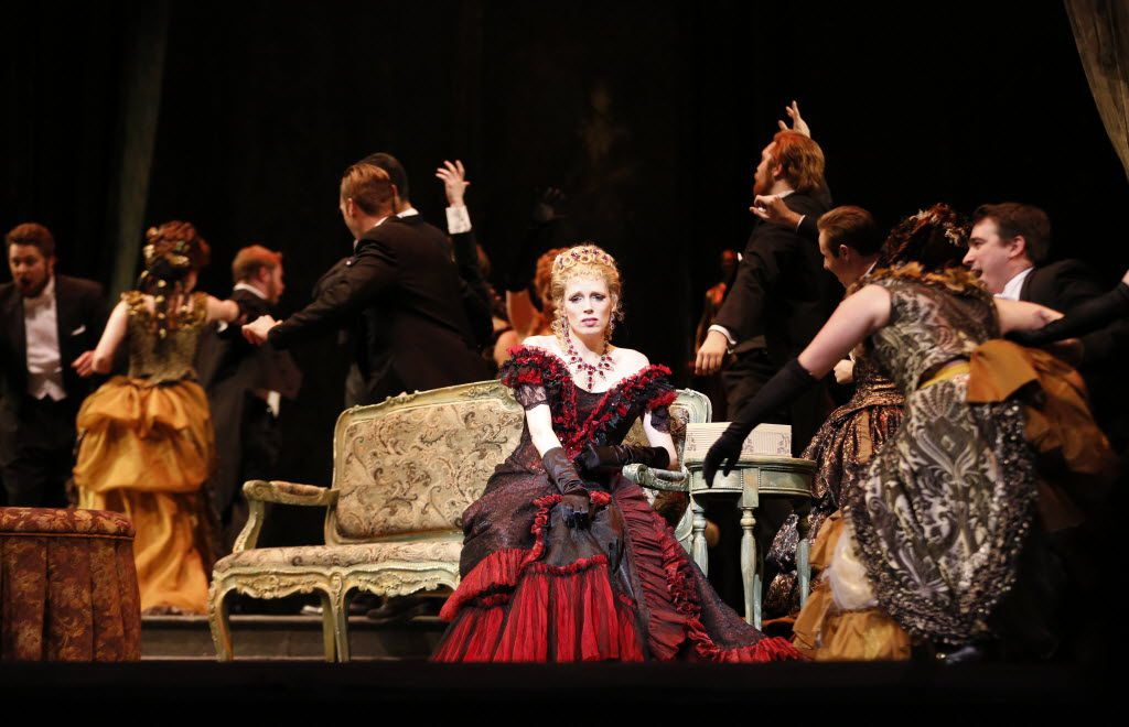 """Rachelle Durkin, center, plays as Violetta during a dress rehearsal of opera """"La traviata"""" at Bass Performance Hall in Fort Worth, TX on April 23, 2015."""